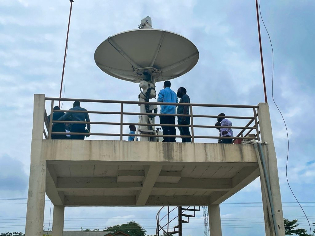 The delegation touring the Ground Stations at EORIC