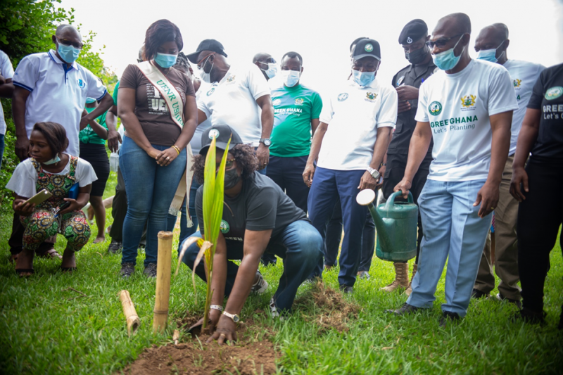 """UENR HOST BONO REGIONAL VERSION OF GREEN-GHANA PROJECT The national tree planting exercise dubbed """"Green Ghana Project"""", an initiative which is being championed by the government of Ghana with support from the Forestry Commission and the Ministry of lands and natural resources, to plant trees as part of efforts to preserve the environment was launched at the University of Energy and Natural Resources (UENR) at the main campus of the University in Sunyani. The event saw in attendance the Vice-Chancellor of the University, Prof. Elvis Asare Bediako, The Bono regional minister, Hon. Justina Owusu Banahene, the Regional Manager of Forest Services, Mr. Isaac Nobel Eshun, reps of traditional leaders, heads of security agencies, heads of sister tertiary institutions in the region, staff and students of the university. Giving the welcome address Prof. Elvis Asare-Bediako outlined the contribution of the university to the region, in the area of afforestation, stating that the university has presented over 27,000 to the forestry department for onward distribution. """"It is not a coincidence that the UENR was chosen as the venue for the launch because taking in into consideration the nationwide goal to plant 5 million trees in a day, which has been subsequently broken down to 250,000 trees to be planted for Bono Region. I am glad to inform you that UENR has presently over 27,000 seedlings which have been offered to the Forestry Department for onward distribution"""" he noted. With regards to the nurturing and maintenance of the trees, the Vice-Chancellor added that a monitoring and evaluation team will be set up by the university in collaboration with the Forestry Commission. He assured saying """"I promise that the University in conjunction with the Forestry Commission is to ensure that these trees are nurtured. We're also going to train and educate farmers as well, that will have the chance to be given some of these trees, so we want to assure you that these trees nurtured."""" Vice-Ch"""